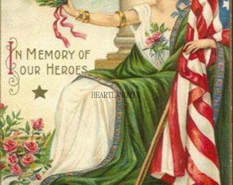Vintage Digital Image Download Printable Memorial Day Illustration