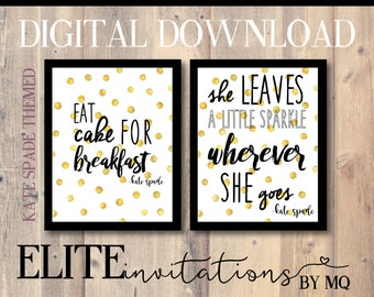 kate spade themed quotes for decor stripes gold glitter floral spade bridal shower just throw in a frame