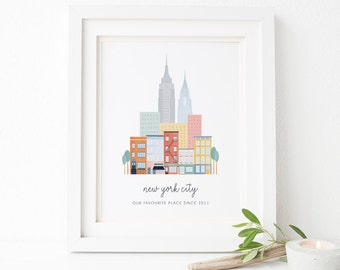Personalised New York City Print - Personalised New York Print - Personalised City Print - New York Print - Engagement Gift - City Print