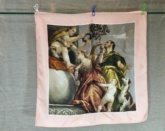 Vintage Italian art silk scarf