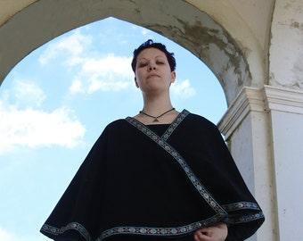 READY TO SHIP - Black wool cape lined in taffeta fantasy Larp pagan renaissance cloak mantle water earth elemental wicca pagan yule wiccan