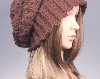 Slouchy Hat, Winter knit hat, brown Knit Hat,  brown slouchy Hat, knit hat, winter hat, baggy hat, chunky knit, Cabled Slouch Beanie