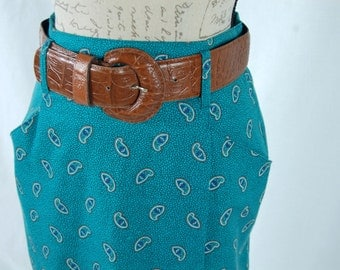 """Vintage 1980s  """"Autograph American Clothing"""" Teal Paisley Wrap Skirt (Size 9/10)"""