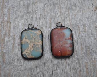 Medium Rectangle Soldered African Opal Stone Pendant