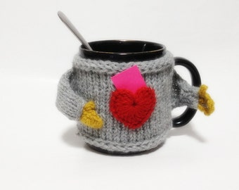 Wool Cute Fashion Mug Sweater Cozy With Heart Pocket