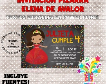 ELENA invitation of aworth type slate Birthday Chalkboard - editable texts - instant download