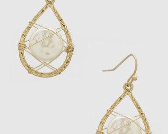 Gold Tone Hoop Wire Wrapped Genuine 12mm White Coin Pearl Earrings
