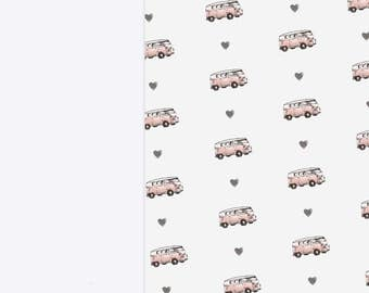Rose Gold VW Campervan Luxury Wrapping Paper Sheets | Gloss A3 Birthday Gift Wrap | Hand Illustrated