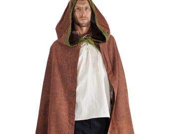 HOODED CLOAK - With trim and ties. Shawl, Cape, Jedi Robe, Renaissance Clothing, Medieval Cloak - Stone Brown with Green Trim