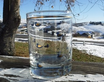 """On the Rocks or Double Old Fashioned Glass, Dark Blue Ducks with Gold Accents, Gold Ring, 3-1/4"""" Diameter x 4-1/4"""" Tall"""