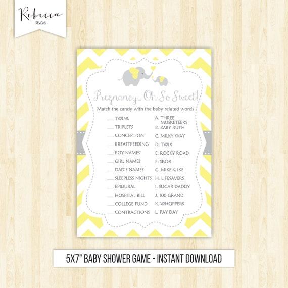 Sweet Sweet Baby Baby Shower Game: Yellow Elephant Game Candy Bar Game Baby Shower Game Baby