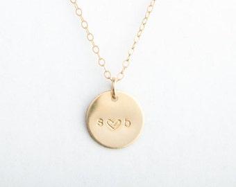 "He Loves Me 1/2"" Round Disc Necklace, 13mm, Gold Filled, Sterling Silver, Rose Gold Filled"