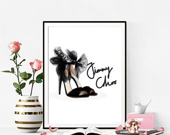 Fashion Print, Jimmy Choo Shoes Artwork. Watercolor artwork. French Couture Print. Fashion Illustration. Modern Home Décor.