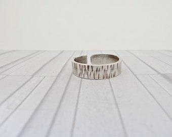 Sterling silver mans ring, Bark effect ring, Silver bark ring, Mans textured ring, Boyfriend gift, Adjustable mans ring, Silver mans ring