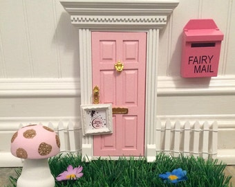 Enchanted Pink Fairy Door with glitter