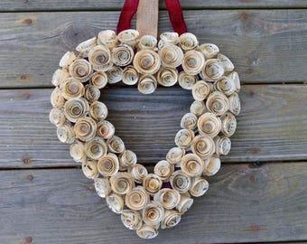 Vintage Piano Sheet Music Rosette Heart Wreath, Heart Shaped Rosette Music Wreath