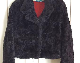 Vintage 1990s Black Faux Fur Jacket Coat Size Medium