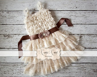 Rustic Flower Girl Dress, Country Flower Girl Dresses, Baby Girl Vintage Dress, Ivory Flowergirl Dress, Lace Ruffle Dress -CHOOSE SASH COLOR