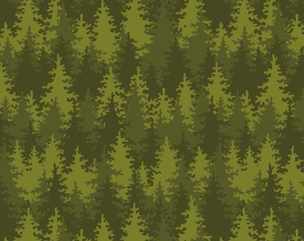 Evergreen Tree Fabric, Patrick Lose Let's Go Camping, Bare Necessities 63942-6470715 Into the Woods, Green Woodland Quilt Fabric, Cotton