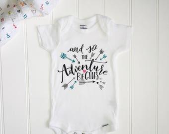 Baby Announcement ONESIE® //New baby ONESIE® // Unisex Onesie® // And so the adventure begins // New baby ONESIE®