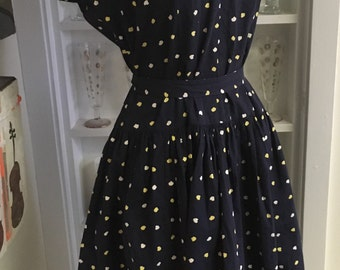 1950s 50s Vintage Navy Print Day Dress with Belt
