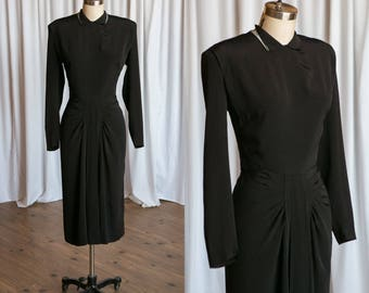 Black Widow dress | vintage 40s dress | black rayon 1940s dress | vintage 1940s black dress | vintage 40s little black dress | Emile Fashion