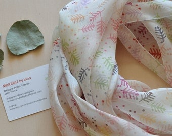 Made in Lyon, multi-colored scarf silk, silk chiffon, 100% silk, made in France, flowers, floral pattern