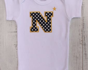 Go Navy!!  Naval Academy Baby Onesie - Navy Blue and Gold!  Solid Navy, Glitter or Dots for Boy/Girl