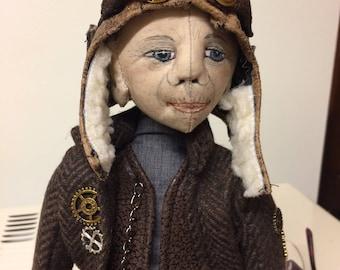 OOAK doll, handmade cloth doll, steampunk cloth art doll,what the elf cloth doll,  goggles, soft sculpture,Textile Art, collection doll
