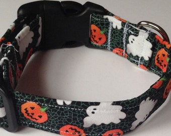 Halloween Dog & Cat Collar with Ghosts and Pumpkins