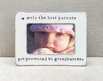 Grandparents gift personalized frame only the best parents get promoted to grandparents frame from child rustic home - Flowers in December