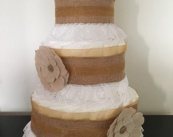 Shabby Burlap Diaper Cake, Rustic Baby Shower Centerpiece, Neutral, Cottage Chic Baby Shower