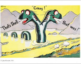 vintage advert Shell petrol motor oil Loch Ness Monster Nessie Scotland Cricket sport home decor gift for car lover print 8.25 x 11.75 in