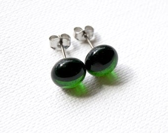 Transparent Sage Green Glass Stud Earrings on Titanium Posts