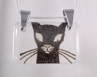 Black cat illustration resin pendant on silver plated chain