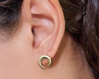 925 Sterling Silver Moon Stud Earrings , Double Horns earrings , Silver crescent Stud Earrings , crescent earrings , boho earrings