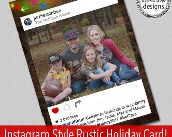 Instagram Style Card, Rustic Christmas, Holiday Card, Digital File
