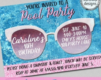 Pool Party Invitation, Birthday Invitation, Swimming Party