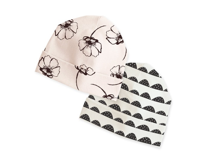 Newborn Hat, Newborn Baby Hat, Newborn Coming Home Hat, Newborn Girl Beanie, Newborn Boy Hat, Baby Boy, Pink Floral, Minimalist, Tesababe