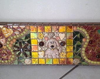 Mosaic Puppy Tile Wall Hanging...Mixed Media Mosaic Featuring a Ceramic Puppy in the middle...Cute & Colorful....Original Mosaic Wall Art