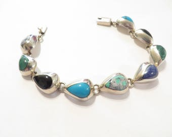 Large Mexican Silver Multi Stone Sterling Silver Bracelet