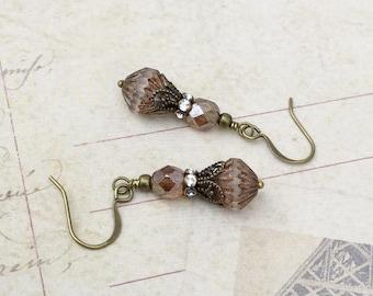 Brown Earrings, Topaz Earrings,Crystal Earrings, Czech Glass Beads,Victorian Earrings, Bridal Earrings,Womens Earrings, Antique Gold Earring