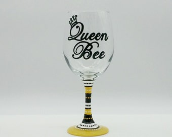 Queen Bee Hand Painted Wine Glass Yellow White Black Crown Tiara Mom Mother