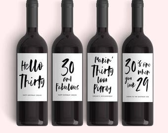 Set of 30th Birthday Wine Labels - (4) Dirty Thirty Birthday Sticker Label 30th Birthday Invitation Decoration - Weatherproof Labels