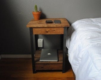 Rustic Side / End table Nightstand with Iron legs and Lower Shelf 15x18x you choose height