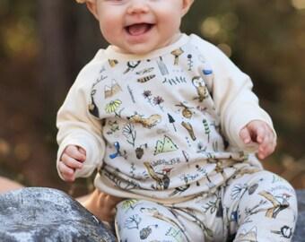 Winter Organic Baby Sweatshirt - Elk Hunt - gender neutral baby sweatshirt, woodland animals, tribal baby shirt