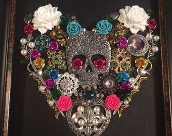 Framed Jewelry Art Heart - Skull, multi-colored, Day of the Dead,