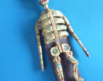 Vintage Day of Dead Wooden Skeleton Hand Carved Painted Folk Art from Guatemala 80's
