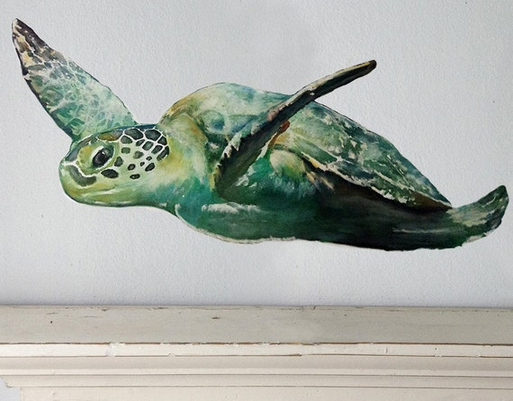 sea turtle sticker turtoise wall decal ocean decal. Black Bedroom Furniture Sets. Home Design Ideas