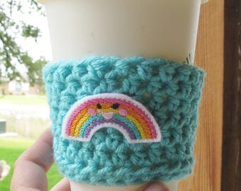 Rainbow Cup Cozy, Crochet Sleeve, Drink Holder, Hot or Cold Beverage, Summer, Birthday Gift, Party Favor, Gift Exchange, Grab Bag, Feltie